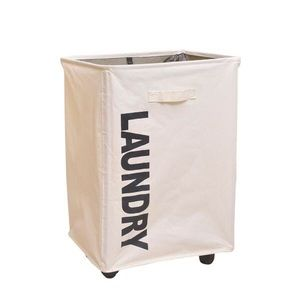 Canvas Laundry Hamper with Mesh Top on Wheels!